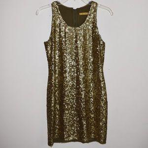Alice & Olivia Olive Green Gold Sequin Mini Dress